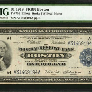 Fr. 710. 1918 $1  Federal Reserve Bank Note. Boston. PMG Very Fine 30.