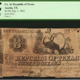 Austin, Texas. Republic of Texas. 1841  $3. PCGS Currency Fine 15