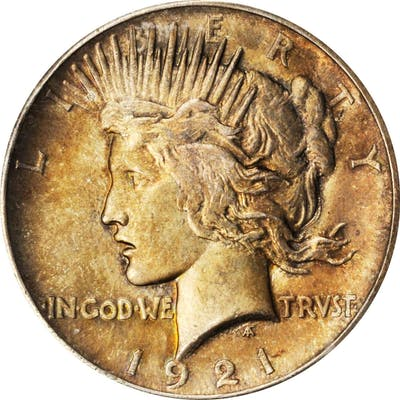 1921 Peace Silver Dollar. High Relief. MS-63 (PCGS). CAC.