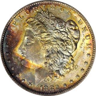 1882-O Morgan Silver Dollar. VAM-5. Top 100 Variety. Weak, O/S Broken.