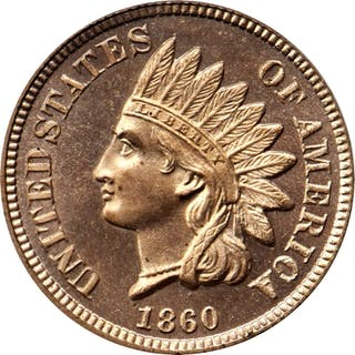 1860 Indian Cent. Snow-PR1. Rounded Bust. Proof-66 Cameo (PCGS).