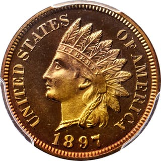 1897 Indian Cent. Snow-PR2. Proof-67 RD Cameo (PCGS). CAC.