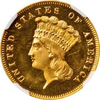 1873 Three-Dollar Gold Piece. JD-1. Rarity-7-. Open 3. Original. Proof-65