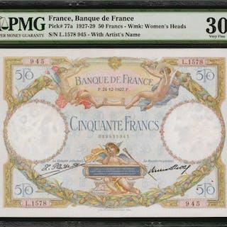 FRANCE. Banque de France. 50 Francs, 1927-29. P-77a. PMG Very Fine 30.
