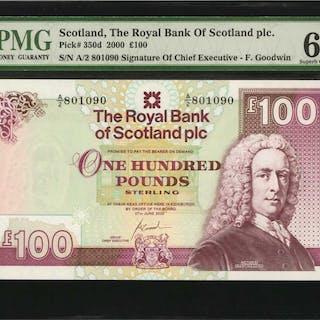 SCOTLAND. Royal Bank of Scotland plc. 100 Pounds, 2000. P-350d. PMG