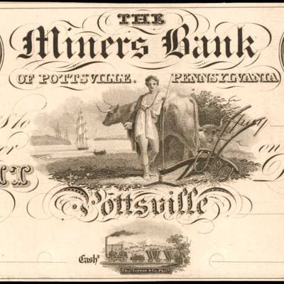 Pottsville, Pennsylvania. Miners Bank of Pottsville. ND (18xx). $8.