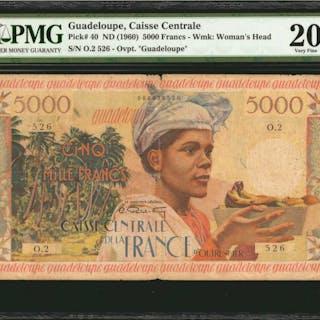 GUADELOUPE. Caisse Centrale de la France d'Outre-Mer. 5000 Francs