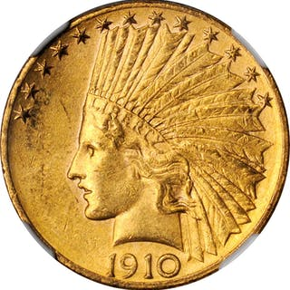 1910-D Indian Eagle. MS-62 (NGC).