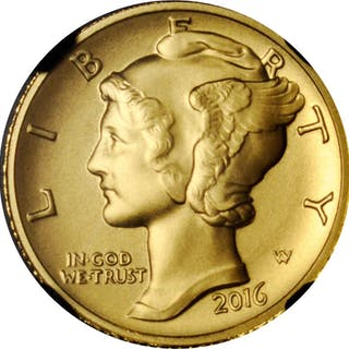 2016-W 100th Anniversary Mercury Dime. Gold. Early Releases. 100th