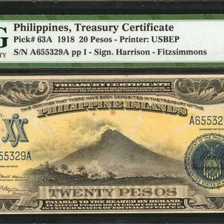 PHILIPPINES. Philippine Islands Treasury Certificate. 20 Pesos, 1918.