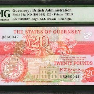 GUERNSEY. States of Guernsey. 20 Pounds, ND (1991-95). P-55a. PMG