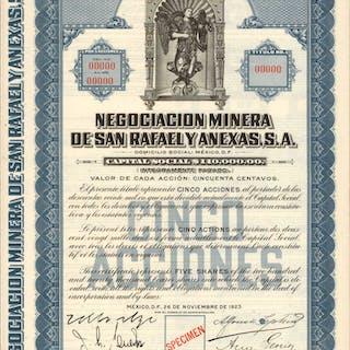 MEXICO. Negociacion Minera de San Rafael Y Anexas, S.A. 5 Shares Deco