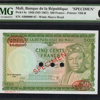 MALI. Banque de la Republique. 500 Francs, 1960-67. P-8 & 8s. Specimen.