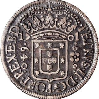 BRAZIL. 640 Reis, 1701-P. Pernambuco Mint. Pedro II. PCGS EF-40 Gold Shield.