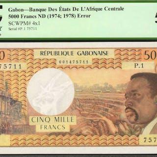 GABON. Banque des Etats de l'Afrique Centrale. 5000 Francs, ND (1974;