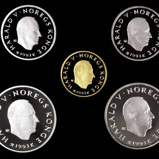 NORWAY. Gold and Silver Olympic Proof Set III (5 Pieces), 1993. Average