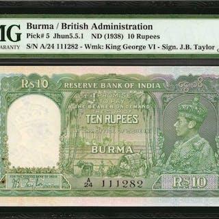 BURMA. British Administration. 10 Rupees, ND (1938). P-5. Consecutive.