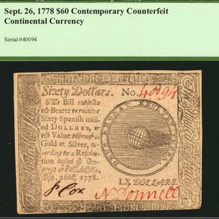 CC-86. Continental Currency. September 26, 1778. $60. PCGS Currency