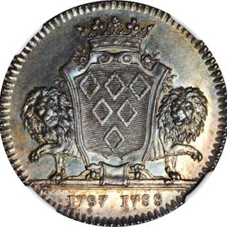 FRANCE. Nantes. Silver Jeton, 1788. NGC MS-62.
