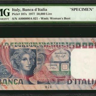 ITALY. Banca d'Italia. 50000 Lire, 1977. P-107s. Specimen. PMG Choice