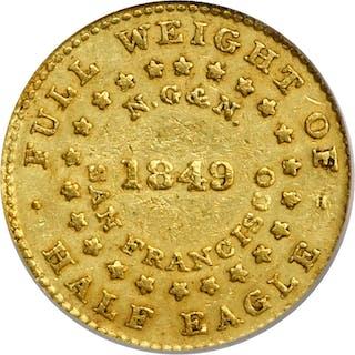 1849 Norris, Gregg & Norris $5. K-3. Rarity-6. Reeded Edge. AU-50 (PCGS).
