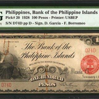 PHILIPPINES. Bank of The Philippine Islands. 100 Pesos, 1928. P-20.