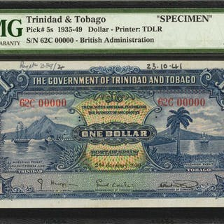 TRINIDAD & TOBAGO. Government of Trinidad & Tobago. 1 Dollar, 1935-49.