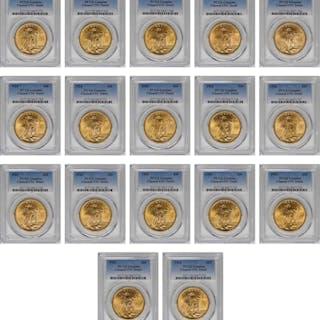 Lot of (17) 1924 Saint-Gaudens Double Eagles. Unc Details--Cleaned (PCGS).