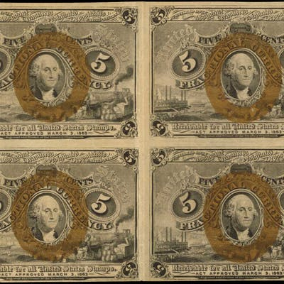Block of (4). Fr. 1232. 5 Cents. Second Issue. Choice Extremely Fine.