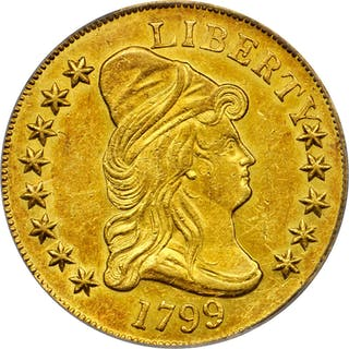 1799 Capped Bust Right Eagle. BD-7, Taraszka-19. Rarity-3. Small Obverse