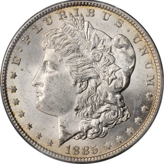 Lot of (2) Mint State 1885-Dated Morgan Silver Dollars. (PCGS).