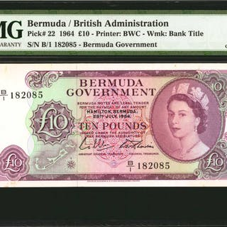 BERMUDA. Bermuda Government. 10 Pounds, 1964. P-22. PMG Choice Uncirculated 63.