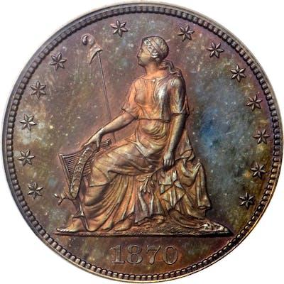 1870 Pattern Half Dollar. Judd-936, Pollock-1042. Rarity-6+. Copper.