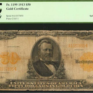 Fr. 1199. 1913 $50  Gold Certificate. PCGS Currency Very Good 8 Apparent.