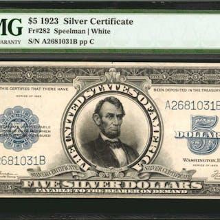 Fr. 282. 1923 $5  Silver Certificate. PMG Very Fine 30.
