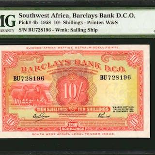 SOUTHWEST AFRICA. Barclays Bank D.C.O. 10 Shillings, 1958. P-4b. PMG