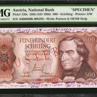 AUSTRIA. National Bank. 500 Shillings, 1965 (ND 1966). P-139s. Specimen.