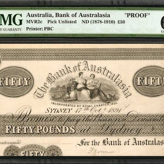 AUSTRALIA. Bank of Australasia. 50 Pounds, ND (1878-1910). P-Unlisted.