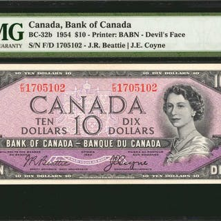 CANADA. Bank of Canada. 10 Dollars, 1954. BC-32b. PMG About Uncirculated