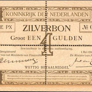 NETHERLANDS. Ministerie van Financien. 1 Gulden, 1916. P-8s. Specimen.
