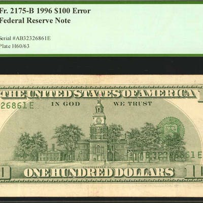 Fr. 2175-B. 1996 $100 Federal Reserve Note. New York. PCGS Currency