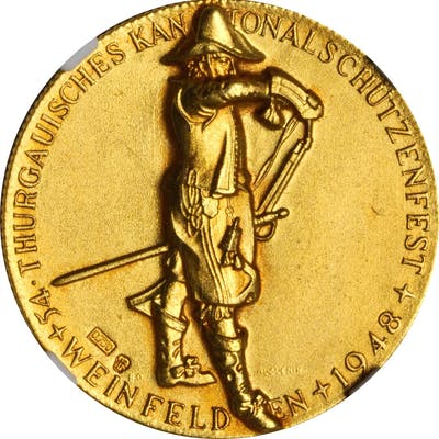 SWITZERLAND. Thurgau Shooting Festival Gold Medal, 1948. NGC MS-67.