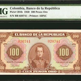 COLOMBIA. Banco de la Republica. 100 Pesos Oro, 1950. P-394b. PMG