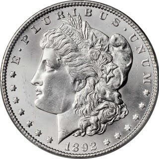 1892 Morgan Silver Dollar. Unc Details--Scratch (PCGS).