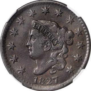 1827 Matron Head Cent. N-11. EF-40 BN (NGC).