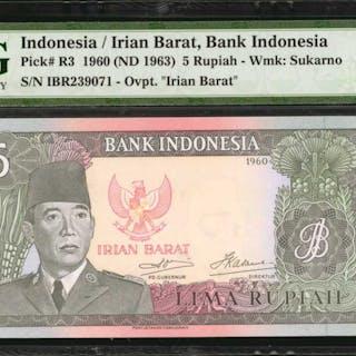 INDONESIA. Bank Indonesia. 5 Rupiah, 1960 (ND 1964). P-R3. PMG Gem