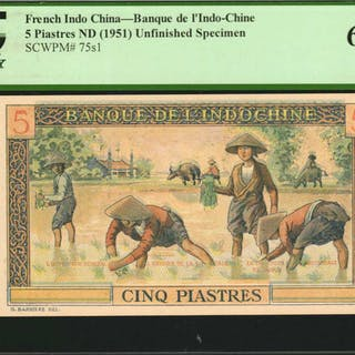 FRENCH INDO-CHINA. Banque de l'Indo-Chine. 5 Piastres, ND (1951).