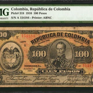 COLOMBIA. Republica de Columbia. 100 Pesos, 1910. P-318. PMG Very Fine 20.