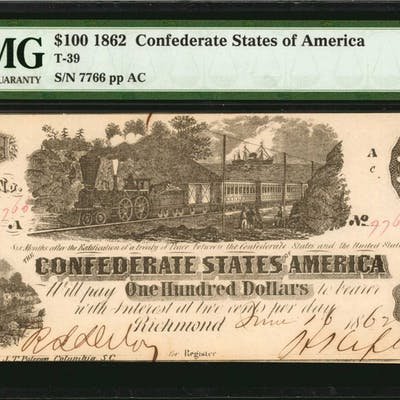 Lot of (2) T-39. Confederate Currency. 1862 $100. Consecutive. PMG
