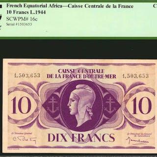 FRENCH EQUATORIAL AFRICA. Caisse Centrale de la France. 10 Francs